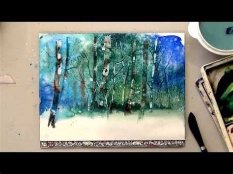 youtube watercolor christmas cards tutorials watercolor birch trees for card or painting how to pine tree