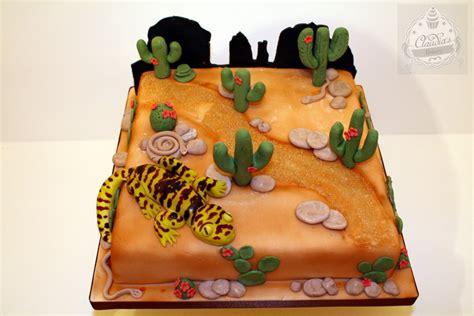 desert themed cake  handmade cactus  gecko
