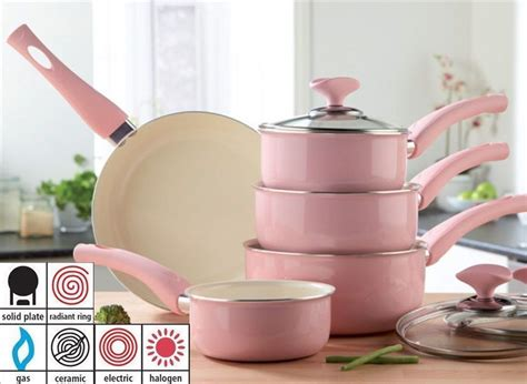 piece baby pink pan set ceramic easy clean soft touch handles  home furniture diy