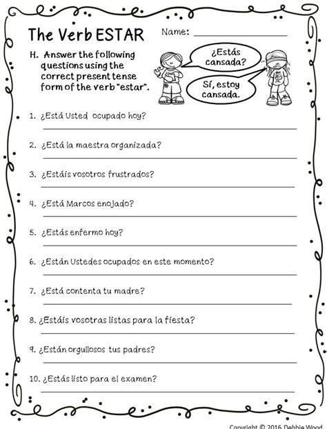 verb estar posters and worksheets classroom d 233 cor