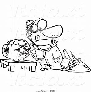 vector of a cartoon robber unlocking a piggy bank vault outlined coloring page by ron leishman