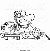 Bank Coloring Vault Piggy Cartoon Robber Outlined Vector Unlocking Toonaday sketch template