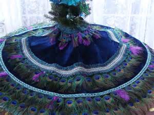 items similar to dual use 48 quot peacock feather christmas tree skirt tablecloth in your choice of
