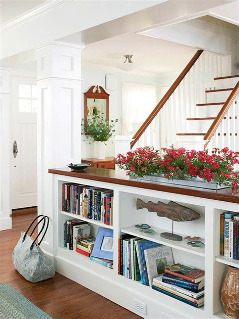 It s a spartan elegant design employing open shelving spare white matching stoneware and a vibrant color from ralph lauren paint called monticello yellow described by the designer s site as a brilliant. Half Wall Bookcase from Thrifty Decor Chick
