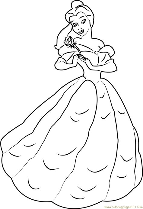 belle standing coloring page  beauty   beast coloring pages coloringpagescom