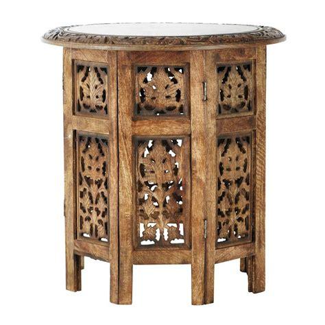 bout de canape bois bout de canapé sculpté en bois l 46 cm saranya maisons