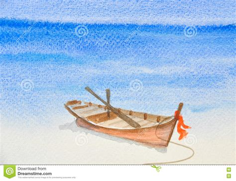 Boat On Beach Drawing by One Fishing Boat On Beautiful Beach Watercolor Painting
