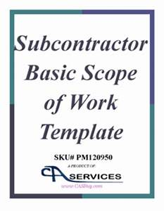 subcontractor basic scope of work template With subcontractor scope of work template