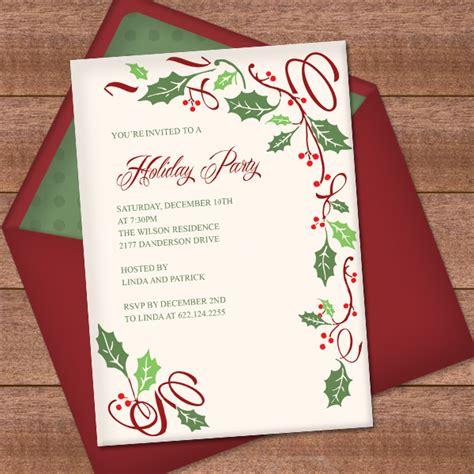 christmas invitation template  holly border design