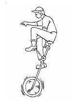 Unicycle Coloring Transportation Printable Land Activities Cycling sketch template