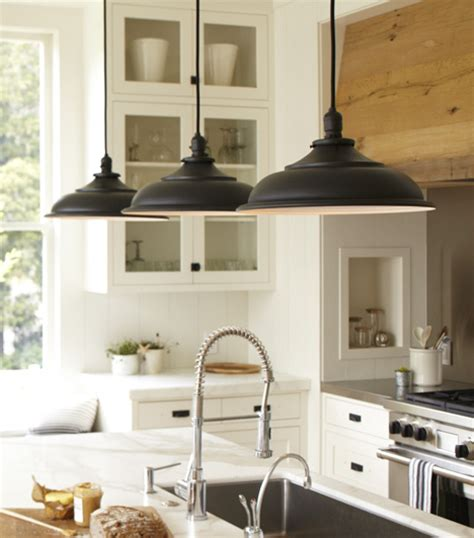 black vintage barn pendants transitional kitchen