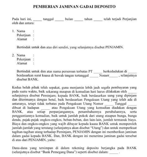contoh surat perjanjian gadai motor surat