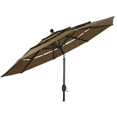 3 tier brown aluminum umbrella