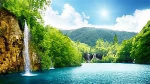 download, 1920x1080, hd, wallpaper, waterfall, lake, forest