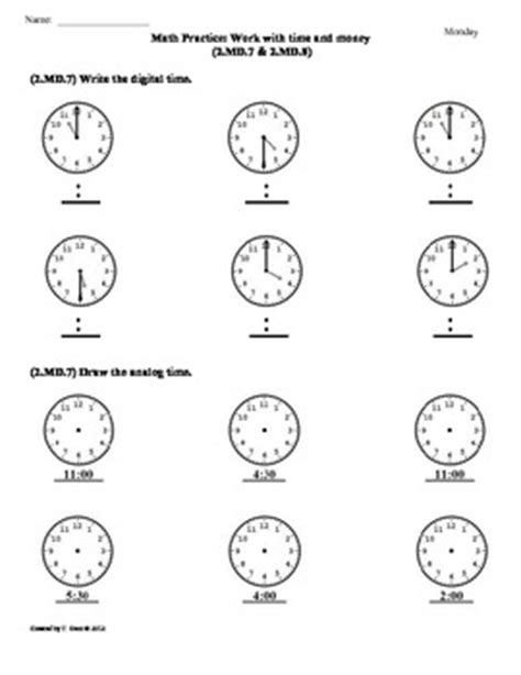 2 md 7 2 md 8 time money 2nd grade common core math worksheets 2nd 9 weeks