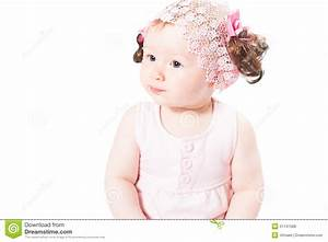 Little Cute Baby-girl With Blue Eyes In Pink Dress ...