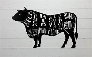 Cow Butcher Shop Sign Beef Meat Chart Butcher Diagram Meat