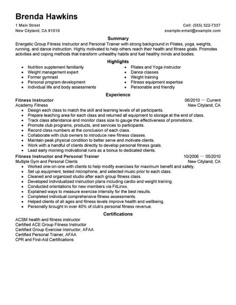 How To Write A Fitness Resume by Best Fitness And Personal Trainer Resume Exle Livecareer