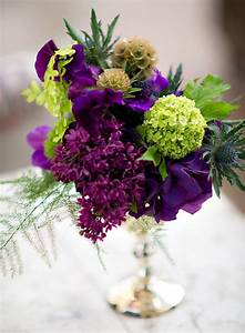 purple and green wedding flowers Tablescape Centerpiece ...