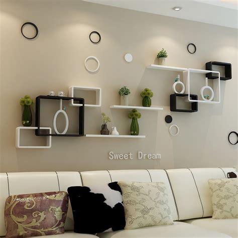 Decorative Wall Shelves For Living Room by Tv Background Wall Shelving Cross Creative Lattice Shelf