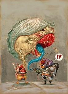alien astronaut monster cartoon character illustration