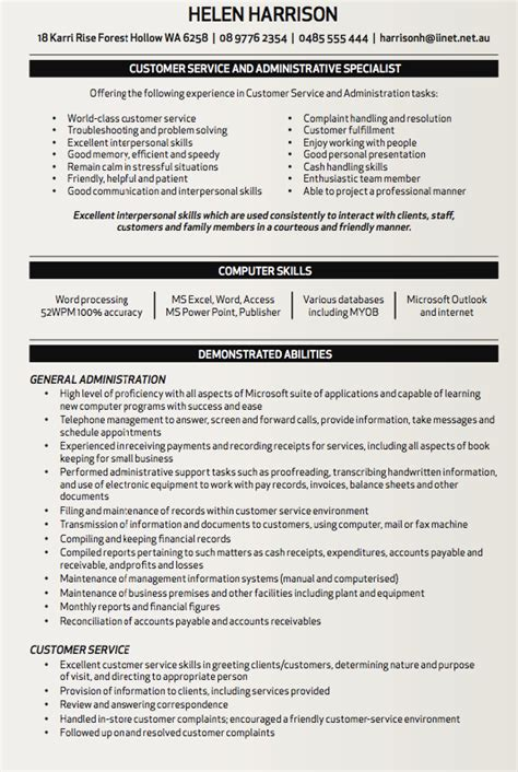 customer service and administrative specialist resume