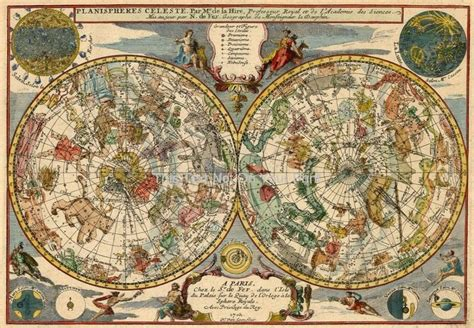 antique planisphere celeste  colour zodiac map design