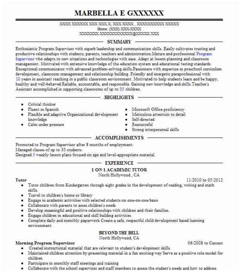 College Tutor Resume by Tutor Resume Sle Resumes Misc Livecareer