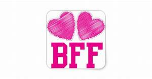 BFF Best Friends forever with love hearts Square Sticker