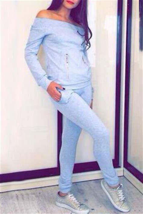 Jumpsuit sky blue zip casual streetwear gym back to school instagram off the shoulder ...
