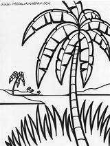 Coloring Palm Tree Island Tropical Trees Adult Jungle Chicka Printable Boom Palms Popular Happy Printables Puppy Spring Coloringhome sketch template