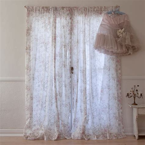 shabby chic voile curtains floral voile curtain obsession for bedding pillows and curtains