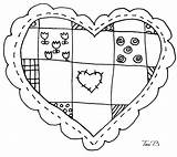 Patchwork Heart Digital Stamp Embroidery Tori Coloring Stamps Works Beveridge Motifs Card Making Pages Digi Sheets Cruzines sketch template