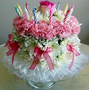 Birthday cake flowers with pink and white fresh flowers ...