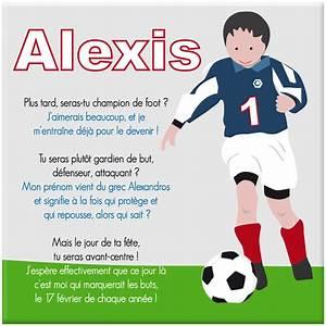 Un tableau spécialement rédigé autour du prénom garçon sur le thème du foot