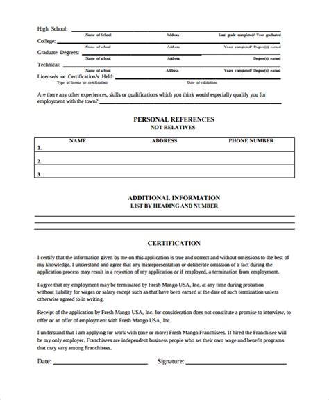employment history form pdf 10 work history templates sle templates