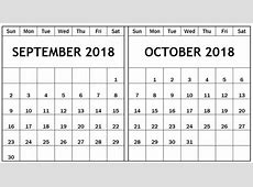 2018 September october Calendar – Printable 2018 Calendar