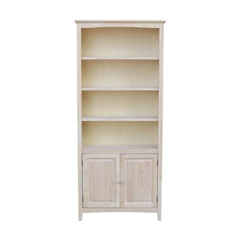 Unfinished Bookcases With Doors international concepts unfinished shaker bookcase