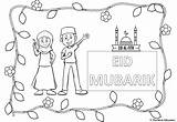 Eid Colouring Sheets Ul Fitr Children Mum Waving Clothes sketch template