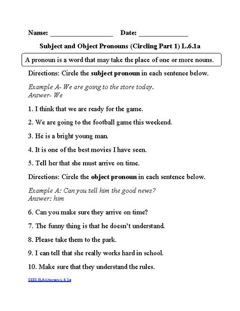 Subjective and Objective Pronouns 1 ELA-Literacy.L.6.1a