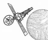 Satellite Coloring Pages Space Travel Orbit sketch template