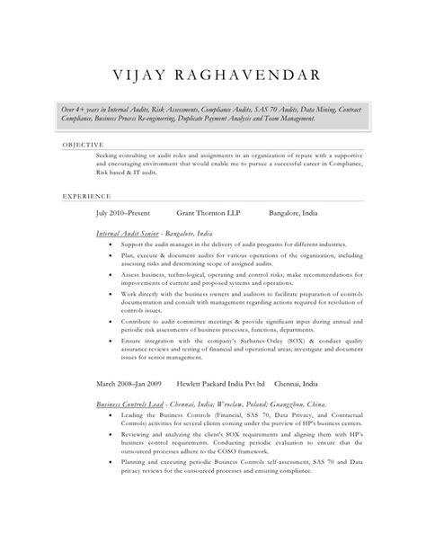 Auditor Curriculum Vitae Sle by Vijay Raghavendar Cv Audit