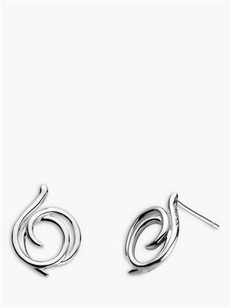 Kit Heath Sterling Silver Large Helix Wrap Stud Earrings