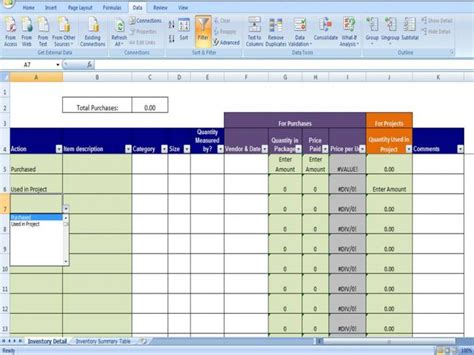materials inventory tracking template calculates amount