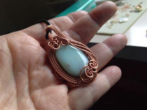 Woven Copper Wire Pendant With Amazonite Stone — Jewelry
