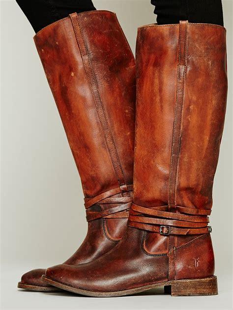 frye  miles distressed boot  brown lyst