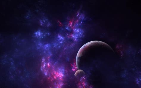 galaxy purple blue planet moon  space wallpapers