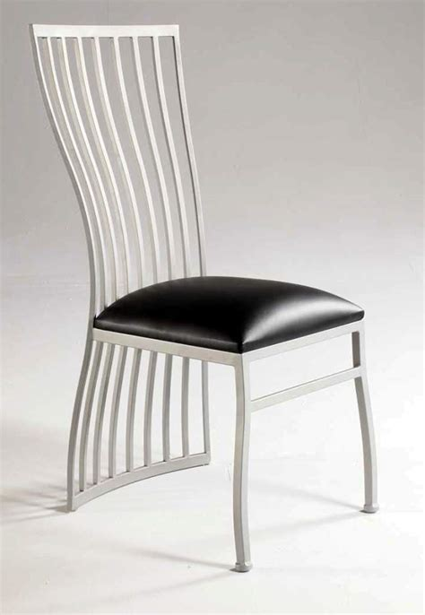silver dining chair with black leather upholstery newark