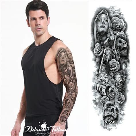Realistic Temporary Tattoo Sleeve Arm Hells Angel Skull