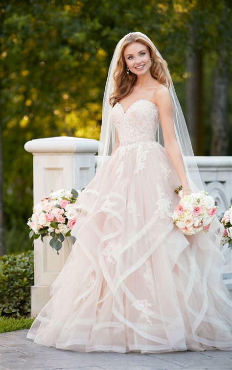 pink floral bridal gown  textured skirt stella york
